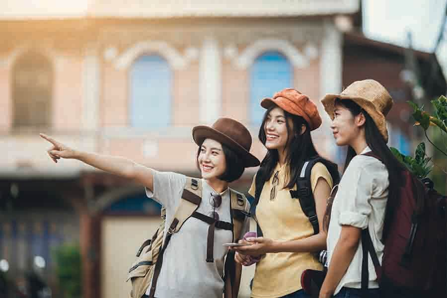 group of young asian women on a vacation