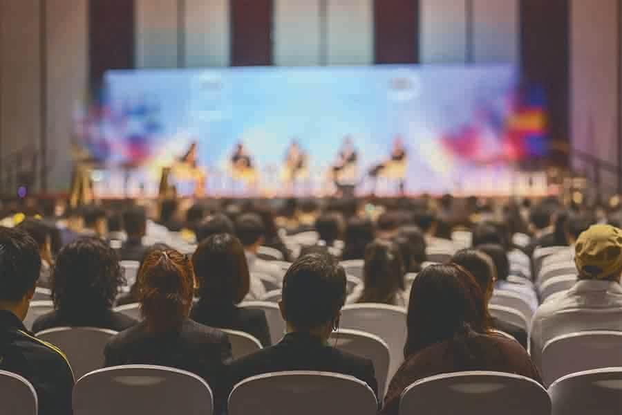 individuals attending a business seminar