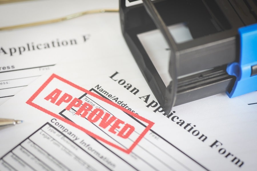 Approved loan application form
