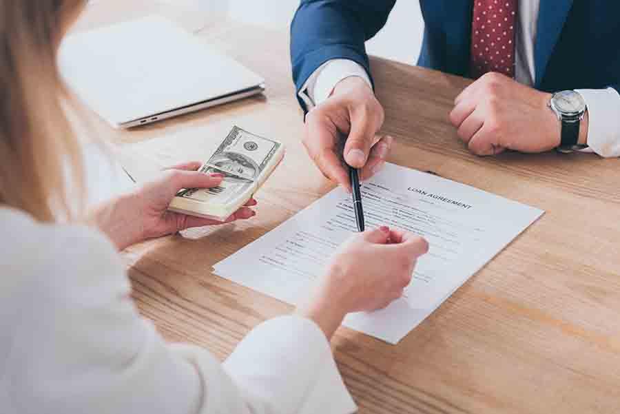 moneylender passing borrowed personal loan sum to lender