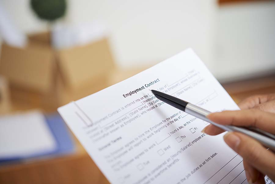showing employment document for loan approval